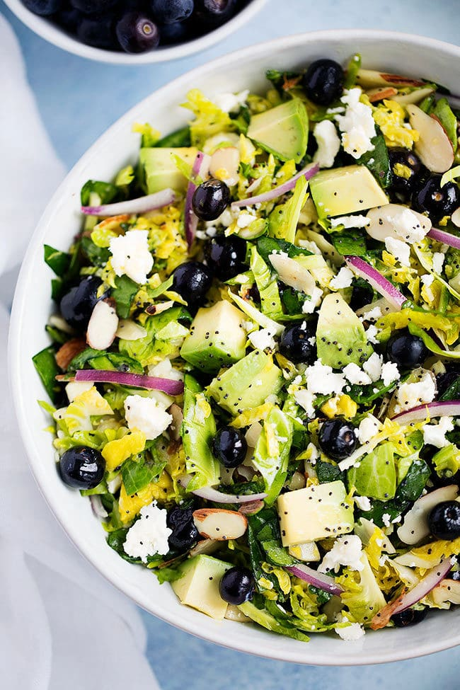 Chopped Brussels Sprout Salad with Blueberries