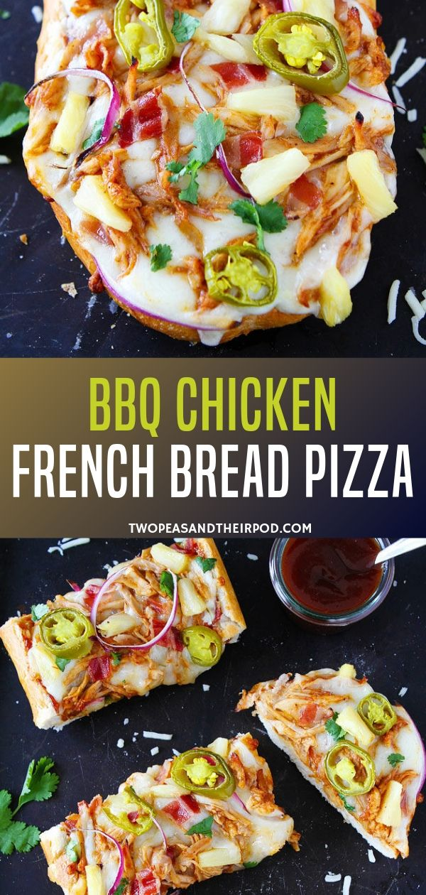 An easy french pizza bread recipe is a great hit to make this Father's Day special! Topped with barbecue sauce, chicken bacon, and other special toppings, this will surely be your favorite weeknight meal. Save this pin for later!