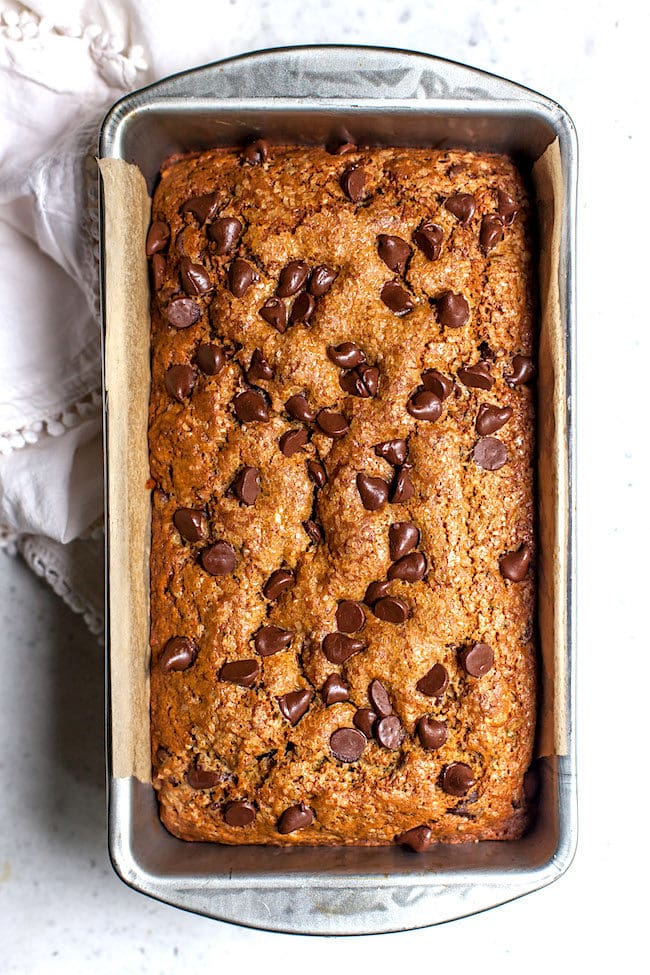 Chocolate Chip Zucchini Bread in pan