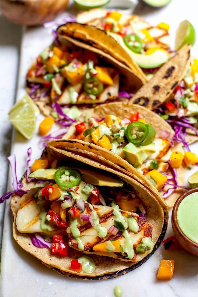 Grilled Halloumi Tacos with mango salsa