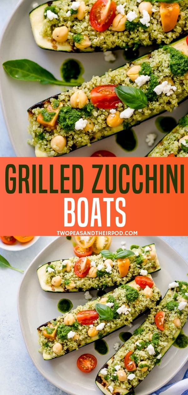 These Grilled Zucchini Boats make a delicious, light and healthy summer meal! Stuffed with quinoa, chickpeas, tomatoes, basil vinaigrette, and feta cheese. It is the perfect side dish for your summer gathering! Try this recipe now!