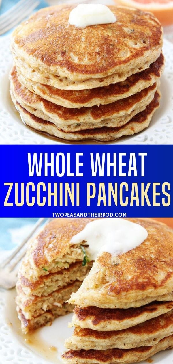 These Whole Wheat Zucchini Pancakes remind me of zucchini bread but in pancake form. Top with butter and maple syrup for a real breakfast treat. They are healthy, so good and delicious that doesn't even know there is zucchini in it! Try this recipe now!