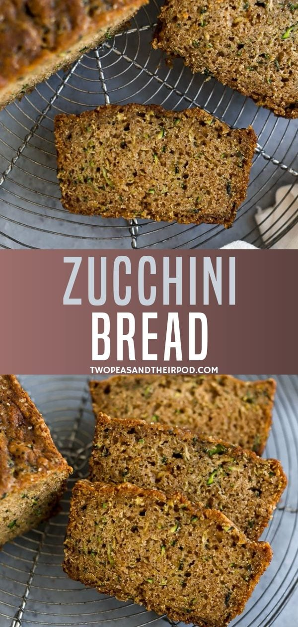 This Classic Zucchini Bread is the BEST zucchini bread recipe! It is easy to make, perfectly spiced, and the zucchini bread is super moist! The best way to use up your garden zucchini.