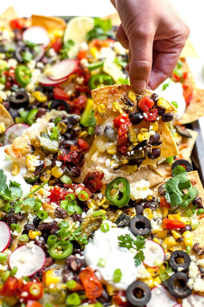 Sheet Pan Nachos with Charred Corn Poblanos and Black Beans