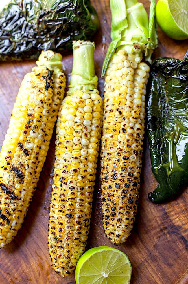 Roasted Corn and Poblano Peppers