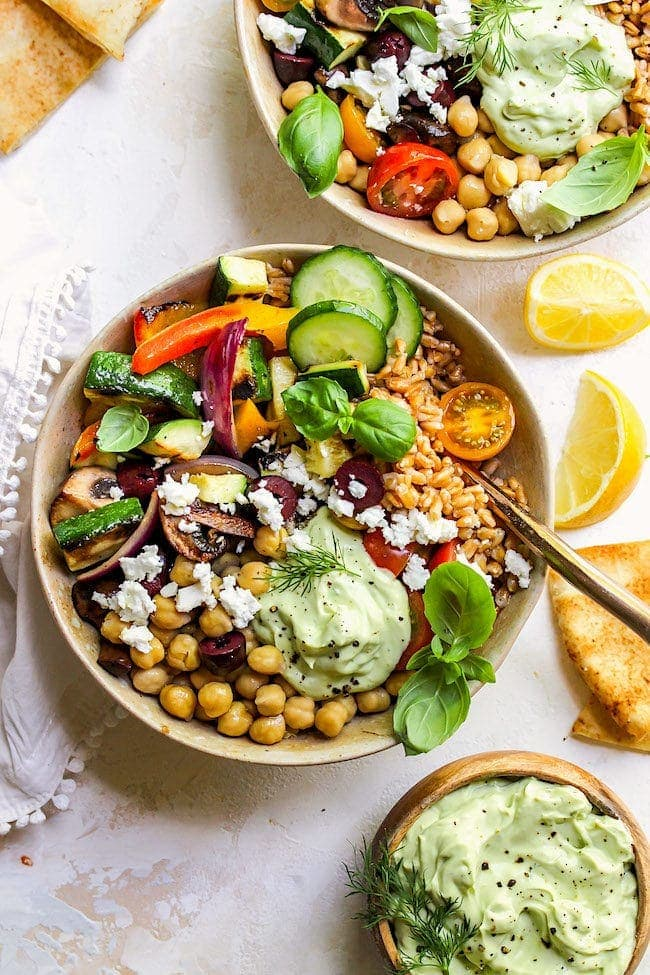 Greek Grilled Vegetable Bowls