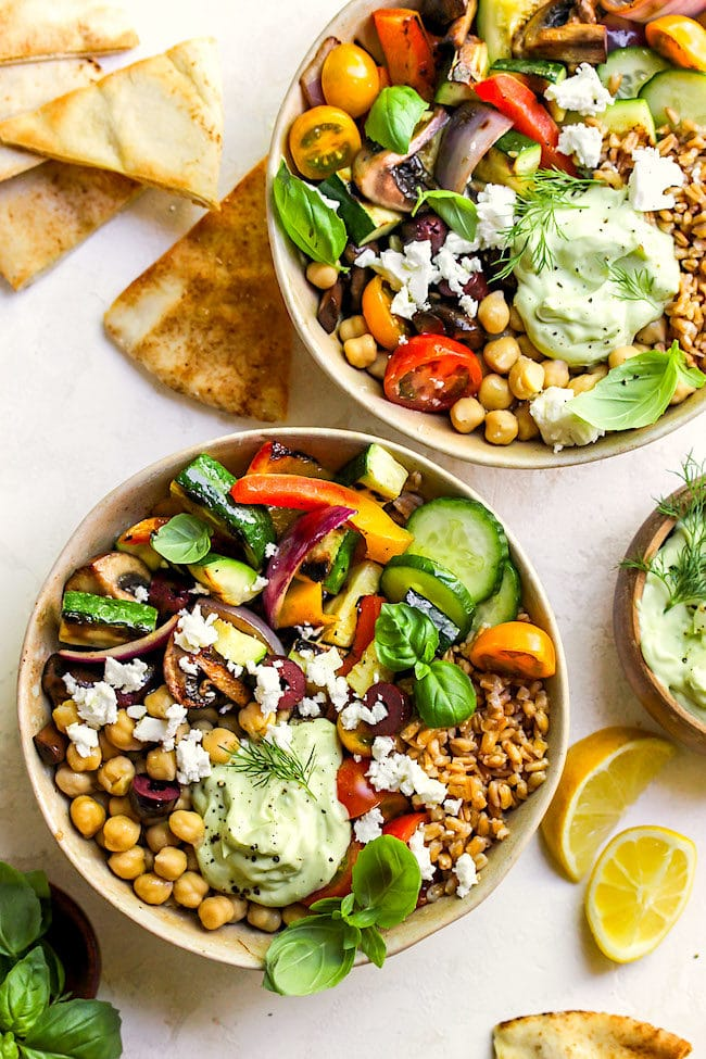 Greek Grilled Vegetable Bowls Recipe