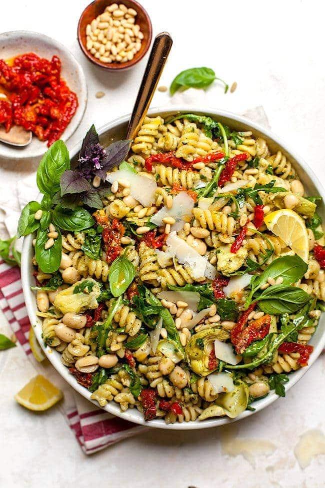 Sun-Dried Tomato, White Bean, and Artichoke Pesto Pasta Salad