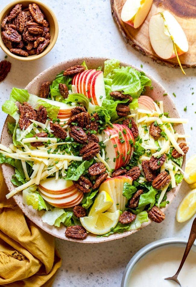 Apple Pecan Salad with Creamy Lemon Dressing