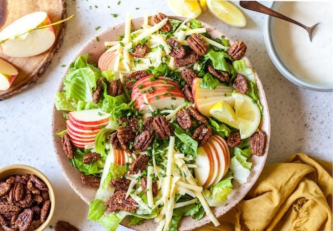 Easy Apple Pecan Salad with Creamy Lemon Dressing