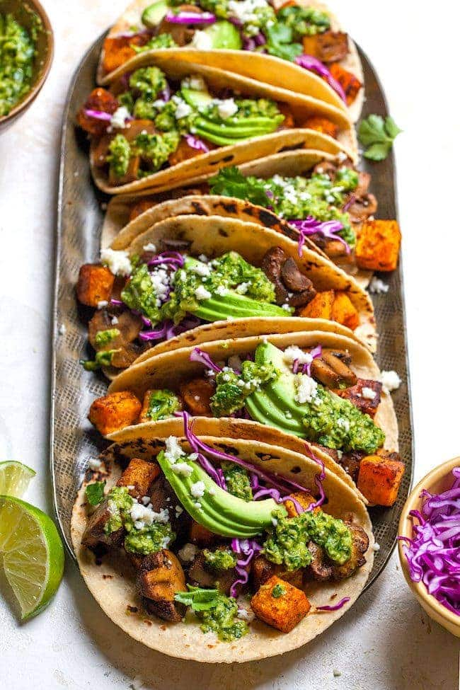 Butternut Squash Mushroom Tacos with Chimichurri