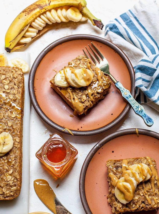 Healthy Peanut Butter Banana Baked Oatmeal