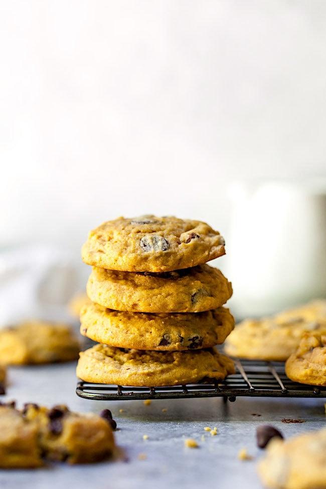 Pumpkin Chocolate Chip Cookies stack