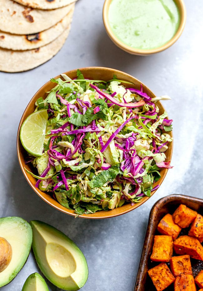 Brussels Sprout Slaw for Sweet Potato Tacos