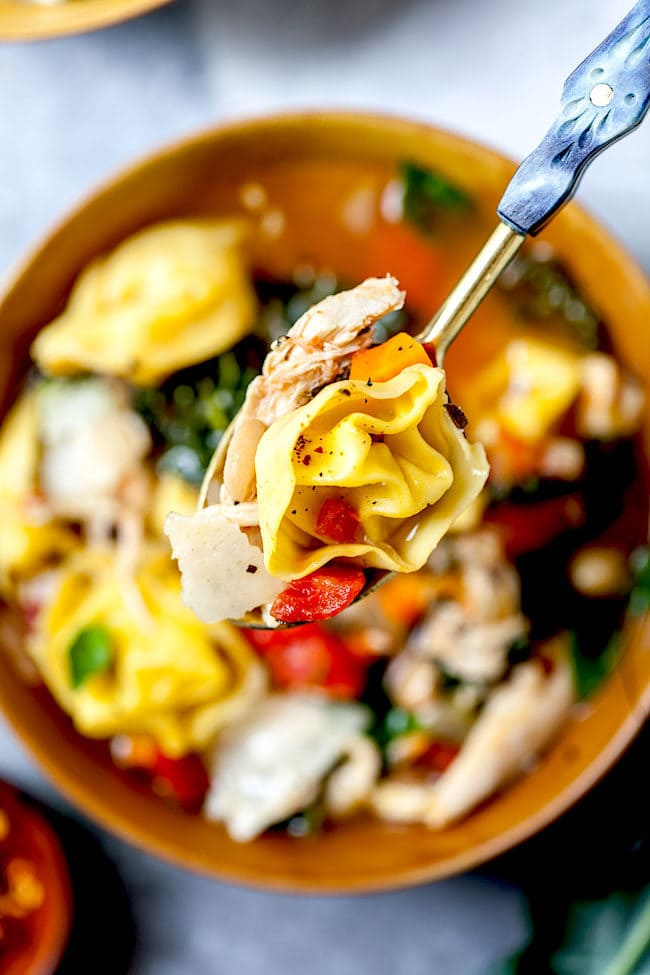 Tuscan Chicken Tortellini Soup in bowl