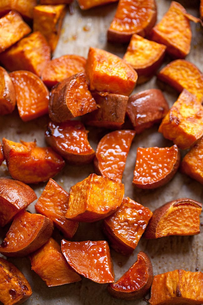 Easy Maple Roasted Sweet Potatoes