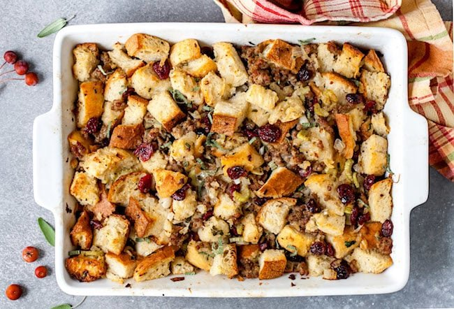 Sausage Stuffing with sage in a pan