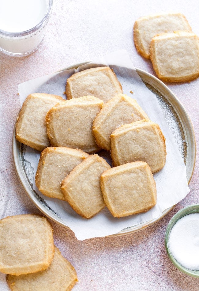 Shortbread cookies on plate