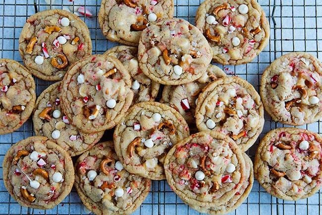 White Chocolate Peppermint Pretzel Cookie Recipe