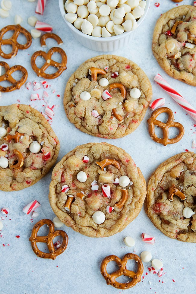 White Chocolate Peppermint Pretzel Cookies for Christmas