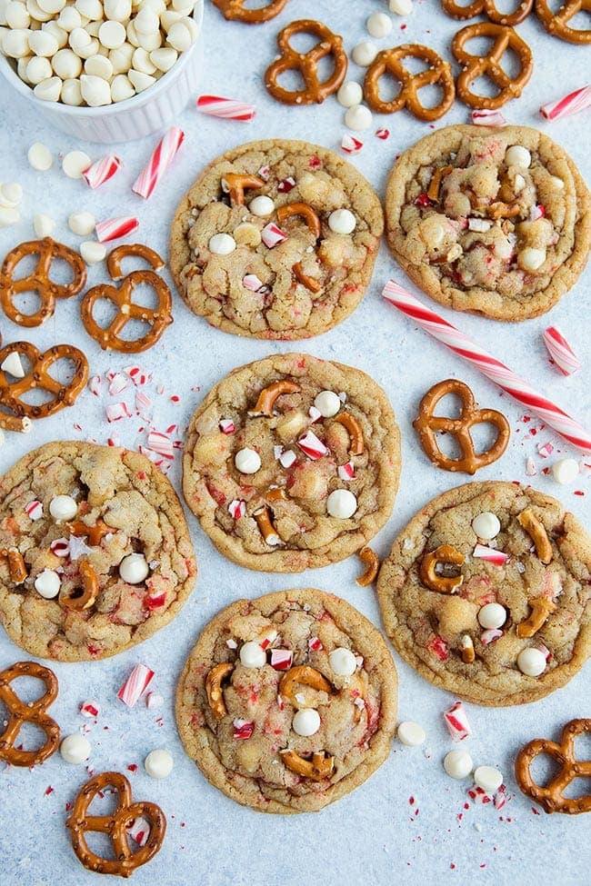 White Chocolate Peppermint Pretzel Cookies