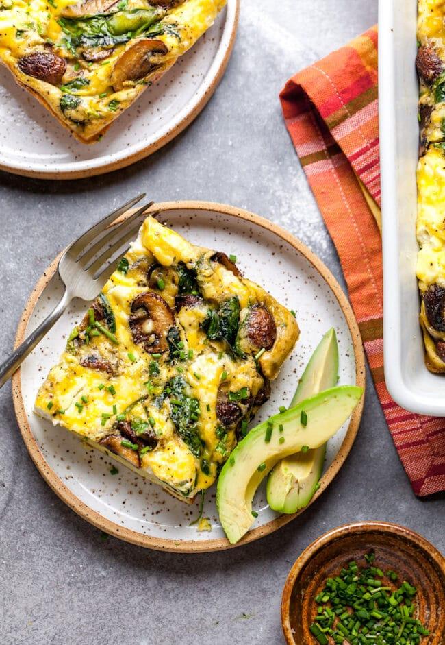 Vegetarian Spinach Mushroom Breakfast Casserole