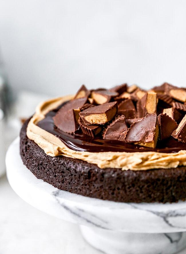 Gluten Free Peanut Butter Flourless Chocolate Cake
