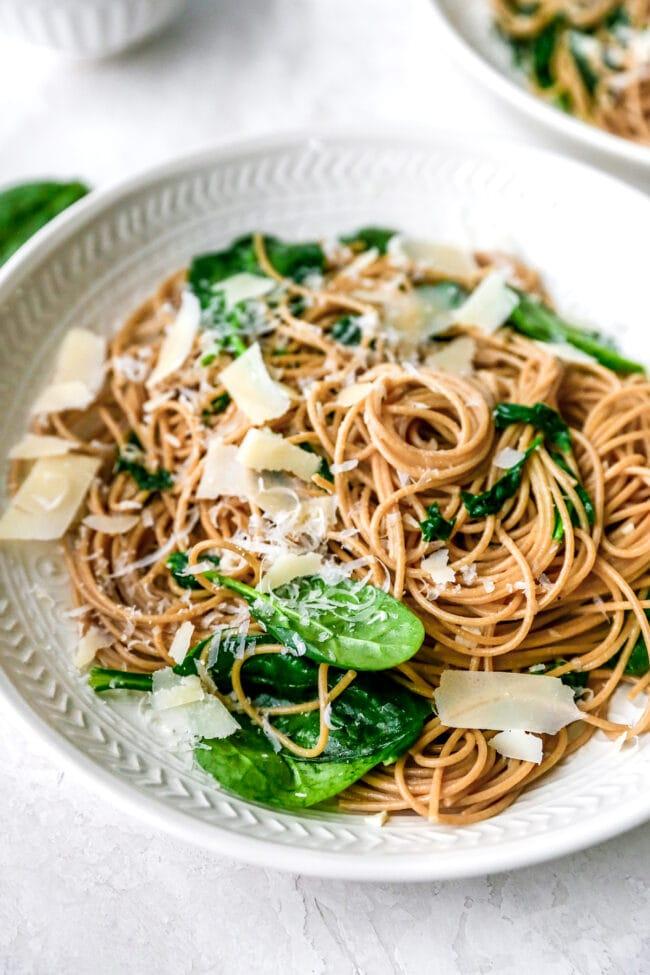 5-Ingredient Spinach Parmesan Pasta Recipe