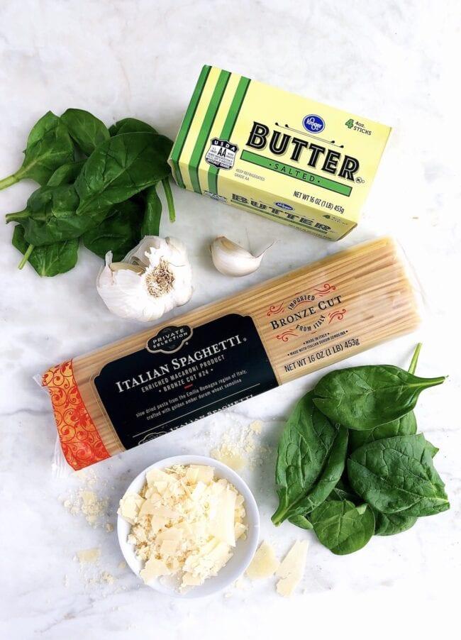 Spinach Parmesan Pasta Ingredients