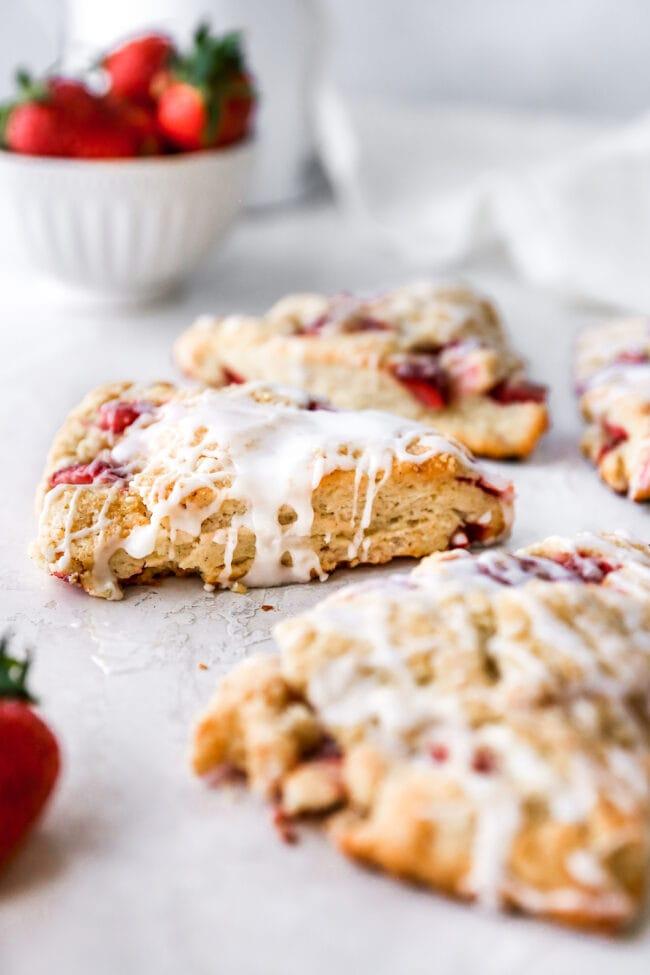 Strawberry Scones with vanilla glaze