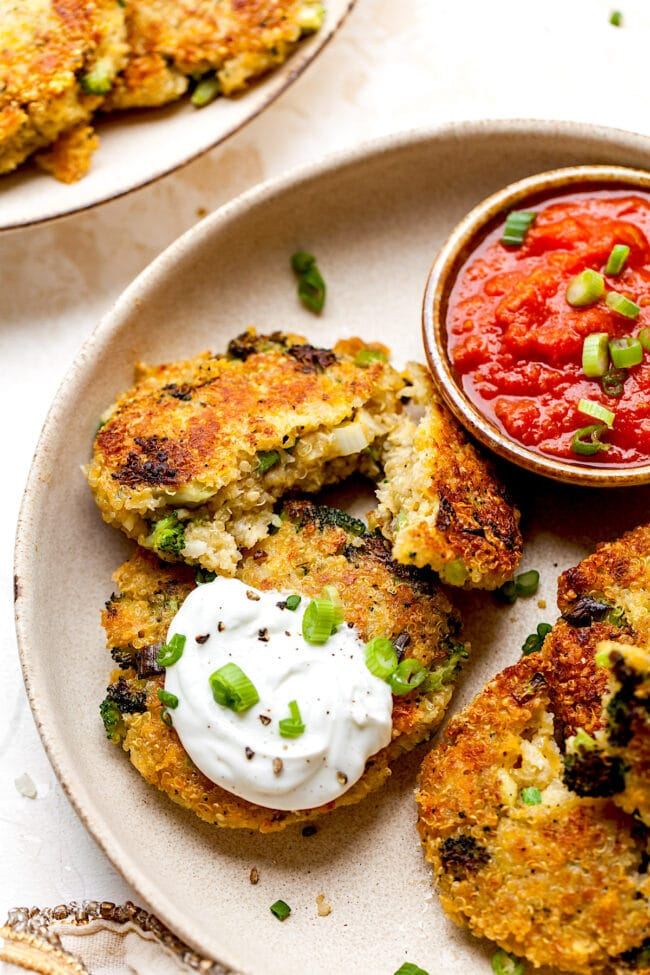 Broccoli Cheddar Fritters with sauce