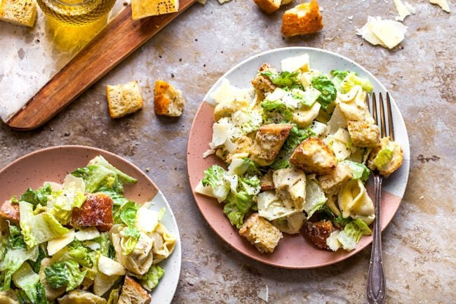 Tortellini Caesar Salad on plates