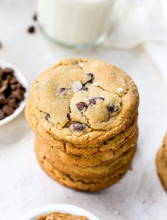 peanut butter chocolate chip cookies stack