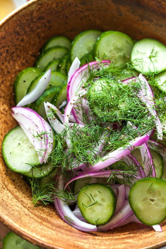 Cucumber salad in bowl