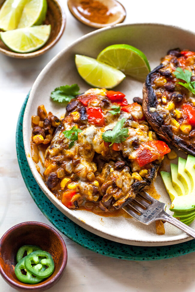 enchilada stuffed mushrooms on plate