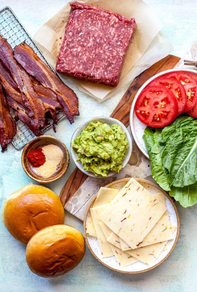 Guacamole Bacon Burger Ingredients