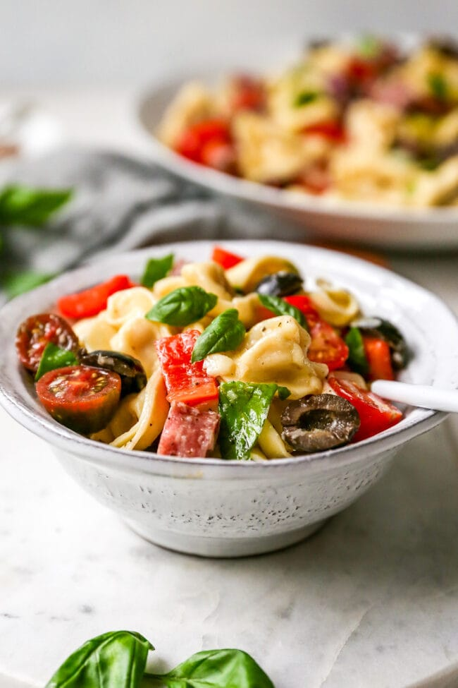 Italian Tortellini Salad in bowl