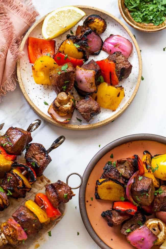 steak kabobs on plate