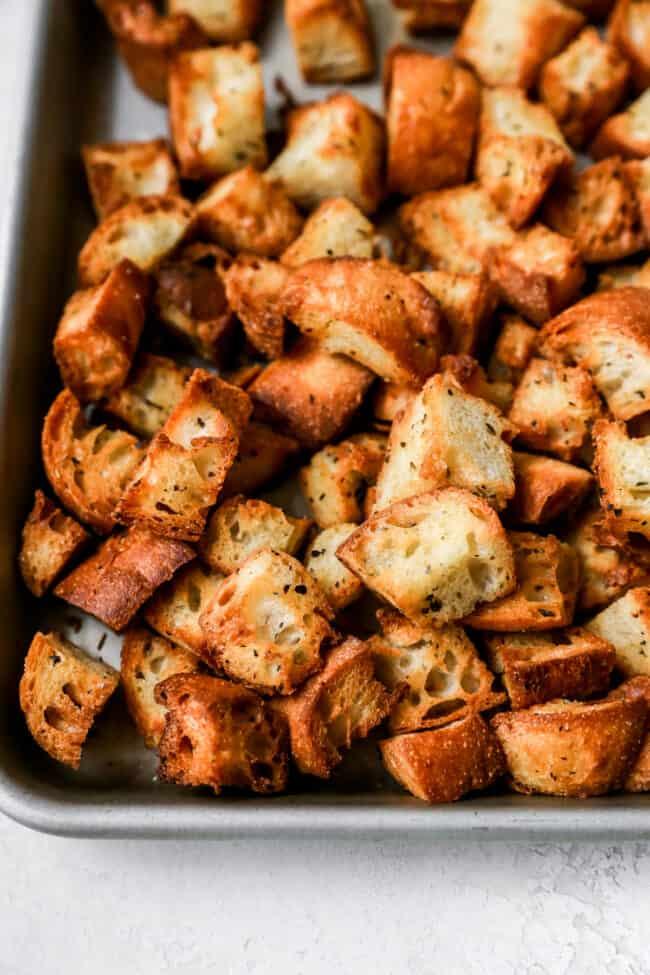 Panzanella Salad croutons on sheet pan
