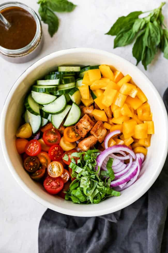 Panzanella Salad Ingredients in bowl