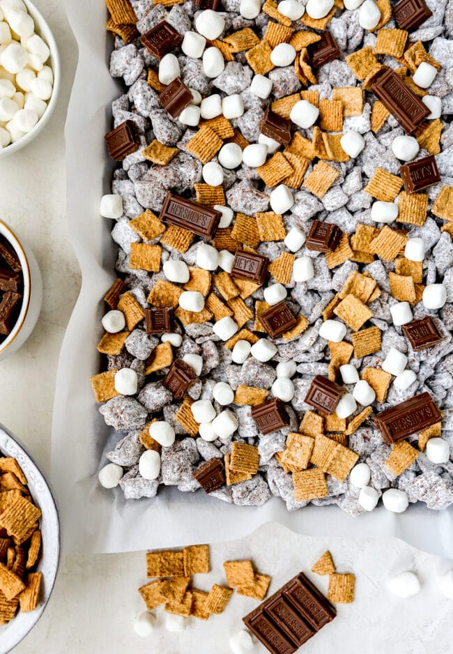 S'mores Puppy Chow on pan