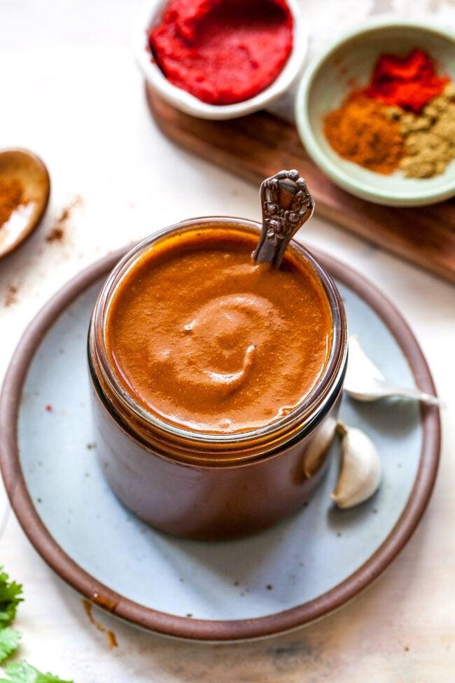 homemade enchilada sauce in jar