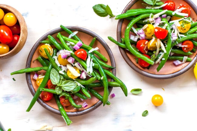green bean salad on plates