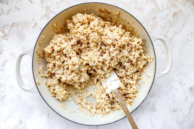 making rice krispie treats in pan