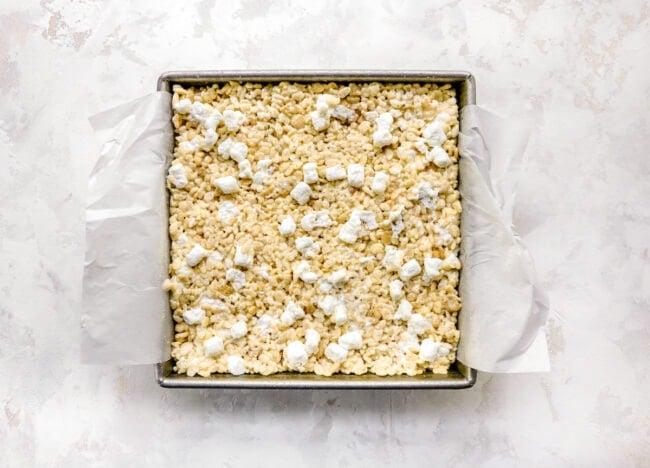 rice krispie treats pressed into pan