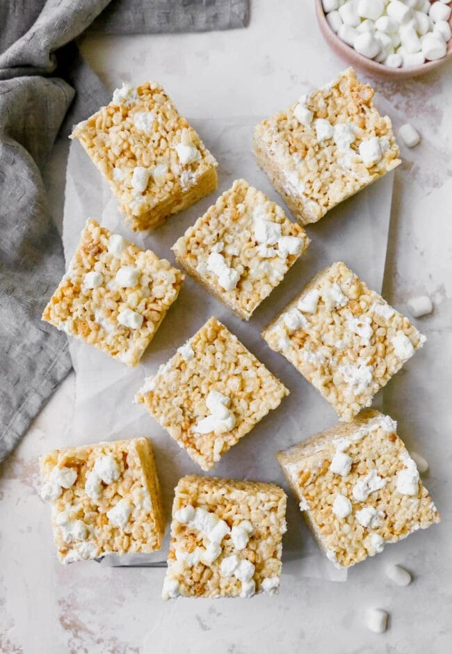 rice krispie treats cut into squares
