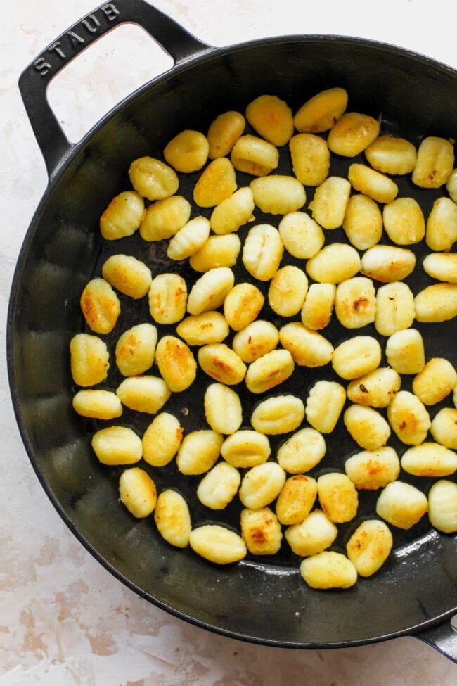Crispy gnocchi in skillet