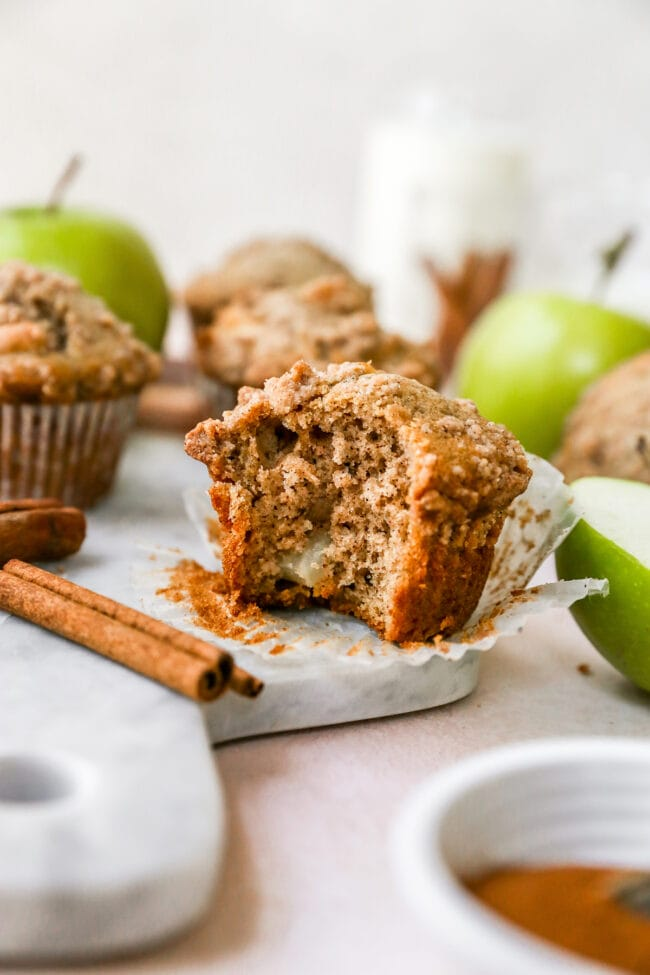bite out of an apple cinnamon muffin