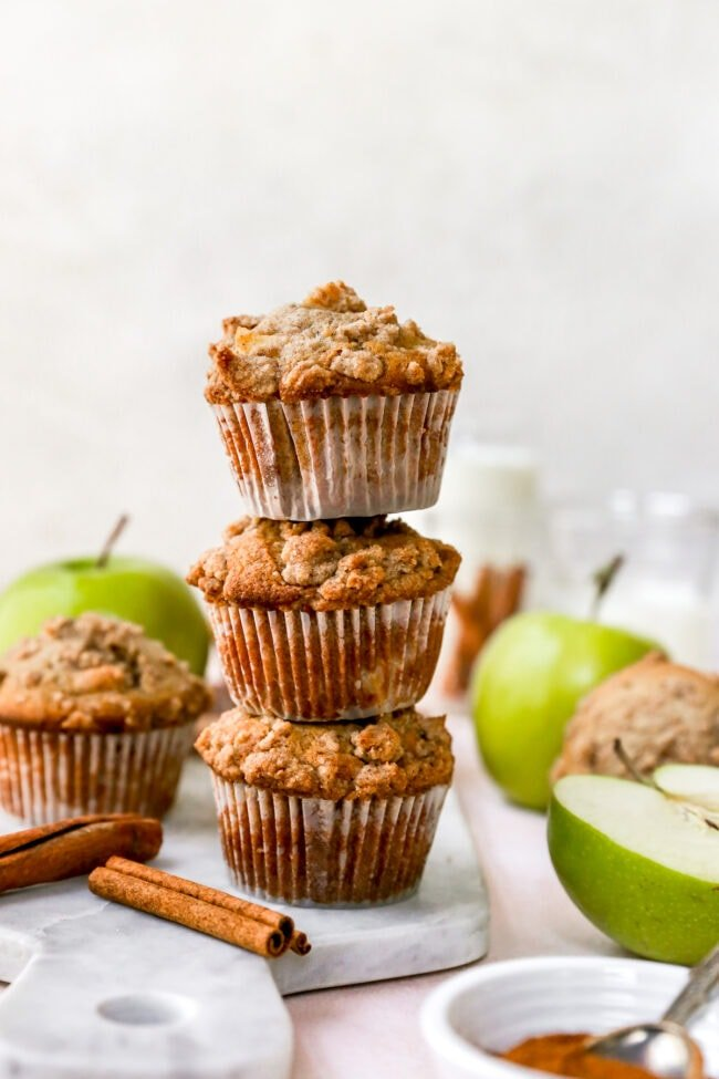 stack of apple cinnamon muffins