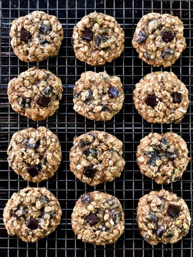 Oatmeal Zucchini Cookies with chocolate chips on cooling rack